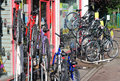 Bikes on racks for sale. Royalty Free Stock Photos