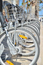 Bikes row of parked in valencia city near the beach Royalty Free Stock Images