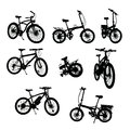 Bikes silhouettes collection with clipping path