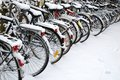 Bikes in snow Royalty Free Stock Photo