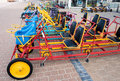 Bikes and warcars to borrow on the promenade of Koksijde, Belgiu Royalty Free Stock Photo