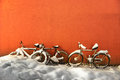 Bikes in winter Royalty Free Stock Photo
