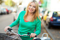 Biking in the city Stock Photography