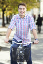 Biking in the city man riding a bike Royalty Free Stock Photos