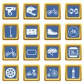 Biking icons set blue