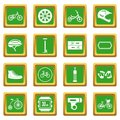 Biking icons set green
