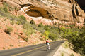 Biking in Zion Stock Image