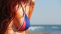 Bikini body woman in parts in the sun Royalty Free Stock Image