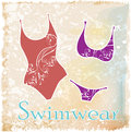 Bikini with floral design silhouettes of Royalty Free Stock Photo