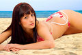 Bikini girl at the beach Stock Image