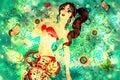Bikini Girl on Grunge Green Background Royalty Free Stock Photo
