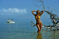 Bikini model in straw hat posing sexy in front of camera at tropical beach location with drift wood tree and fishing boat on Royalty Free Stock Photos