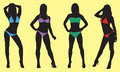 Bikini silhouette of women wearing bikinis Royalty Free Stock Photography