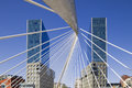 Bilbao. Isozaki towers and Calatrava footbridge Stock Photography