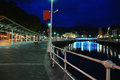 Bilbao riverfront by night Royalty Free Stock Images