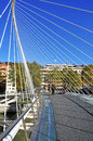 Bilbao spain november zubizuri bridge november bilbao spain tied arch footbridge over nervion river was designed famous architect Stock Photos