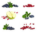 Bilberries, apple  and cranberries Royalty Free Stock Photo