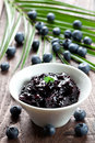Bilberry jam in bowl Royalty Free Stock Image