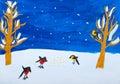 Bild das gouashe des kindes von wintervögeln Lizenzfreie Stockfotografie