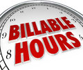 Billable hours time keeping clock words background on face to illustrate and tracking working minutes and days per a contract or Stock Photos