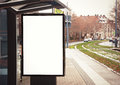 Billboard, banner, empty, white at bus stop Royalty Free Stock Photo