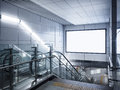 Billboard Banner signage mock up display in subway with escalator Royalty Free Stock Photo