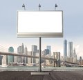 Billboard with empty screen against modern city Royalty Free Stock Image