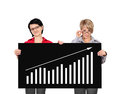 Billboard with growth chart two women holding Stock Photography
