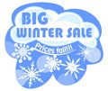 Billboard winter sale with cloud and snowflakes Stock Photo