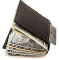 Billfold credit card banknotes isolated white this leather wallet holds a or debit and paper usa cash for future purchases or Stock Photo