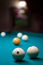 Billiard ball depth of field and number in focus yellow white bright balls Royalty Free Stock Photography