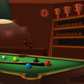 Billiard balls composition on green pool table Royalty Free Stock Photo