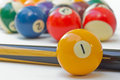 Billiard balls and cues background Royalty Free Stock Photo