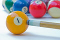 Billiard balls and cues background Stock Photo