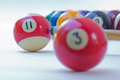 Billiard balls and cues background Royalty Free Stock Images