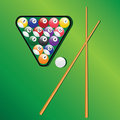 Billiard balls and cues for play game. Stock Images
