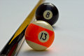 Billiard balls focus on the Royalty Free Stock Photography