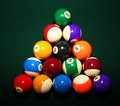 Billiard balls on a green pool table Royalty Free Stock Images