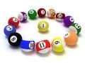 Billiard balls isolated on white background Royalty Free Stock Photo