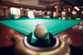 Billiard balls near pocket Royalty Free Stock Photo