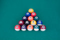 Billiard balls on a pool table Stock Photography