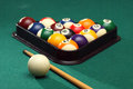Billiard balls on the pool table to start playing Royalty Free Stock Image