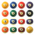Billiard balls set pool isolated on white background Royalty Free Stock Images