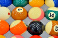 Billiard balls a set of shown as entertainment or sport facilities Royalty Free Stock Photography