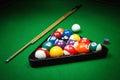 Billiard balls on table Royalty Free Stock Photo