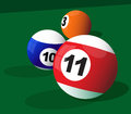 Billiard balls three pool Stock Photography