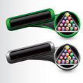 Billiard balls on tilted green and gray banners Stock Photography