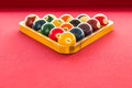 Billiard balls in triangle on the table Royalty Free Stock Photography