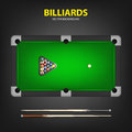 Billiard balls in triangle and two cues on a pool table. Royalty Free Stock Photo