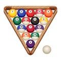 Billiard balls in wooden rack, vector illustration of starting position